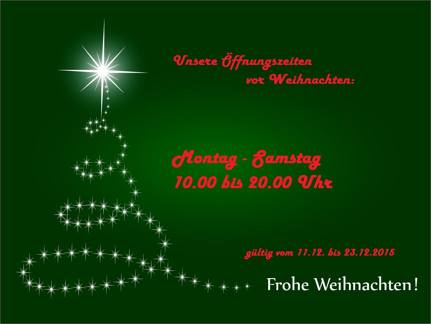 Erweiterte Öffnungszeiten vor Weihnachten