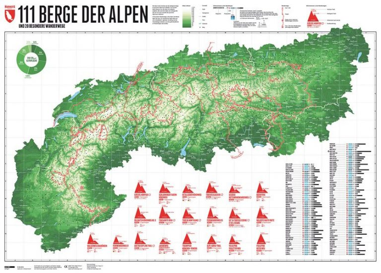 Wandkartentipp: 111 Berge der Alpen